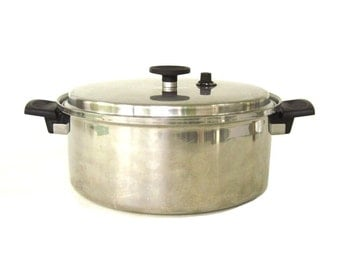 Ekco EHP Cookware 6 Qt Stock Pot Pan Dutch Oven Vintage Stainless Waterless Ekco Home Products 7 Ply (used, as-is, see description)