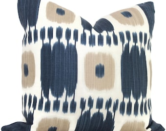 Blue Tan Kandira Ikat Decorative Pillow Covers 18x18, 20x20 or 22x22, 14x20 or 12x24 Kelly Wearstler pillow, accent pillow, throw pillow
