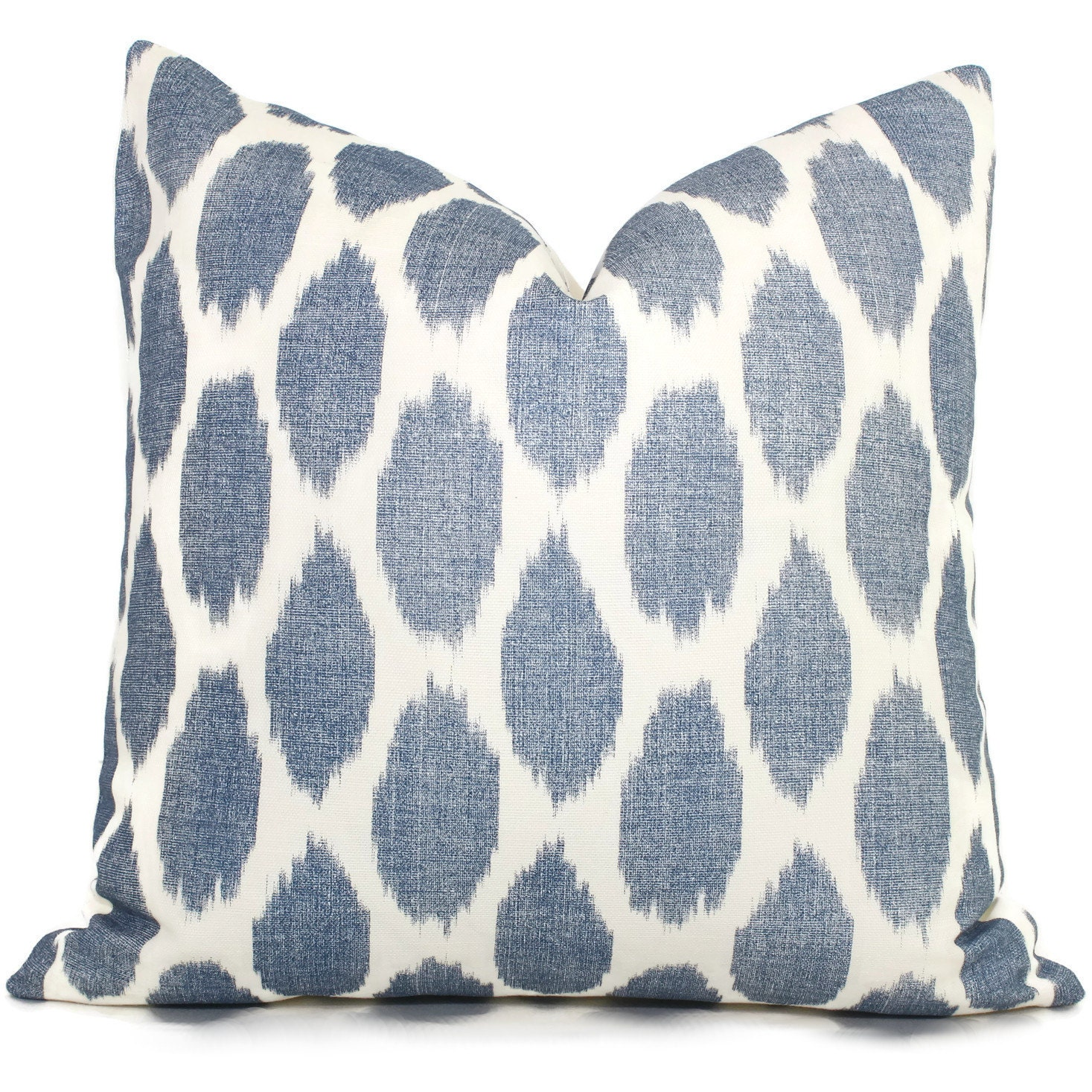 Navy Blue Adras Ikat Quadrille China Seas Pillow Cover Square