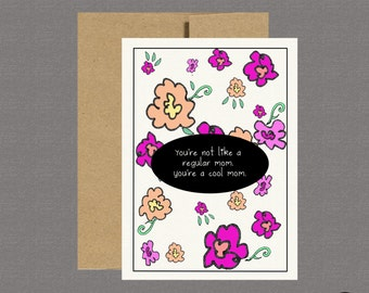 Cool Mom - Funny Mothers Day Card, Greeting Cards, Mothers Day Cards, Care Package, Funny Cards