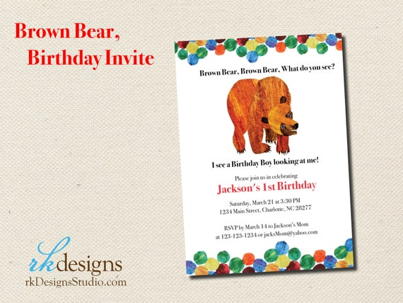 Brown Bear Eric Carle Birthday Invitation Option to add – Eric Carle Birthday Invitations