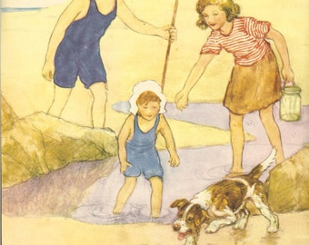 1946 Vintage Childrens Print by G Vernon Stokes Three Children Fishing In Rock Pool  Dog Confronts Crab Beach Book Plate Book Illustration