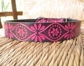 "Pink and Black Leather Dog Collar.  Embossed Retro Design. 1"" Leather Collar."