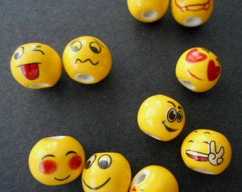 12pcs-Assorted NEW yellow Emoticon Beads,Porcelain/Ceramics Emoji Beads