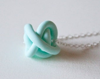Mint Clay Knot Necklace