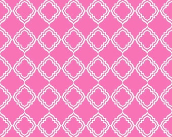 20 x 20 LAMINATED cotton fabric yardage - Geometric Pink Extravaganza by Lila Tueller (aka oilcloth, coated vinyl)