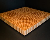 "One Of A Kind ""Dispersion 3D"" End Grain Cutting Board, Large Butcher Block Custom Countertop Butcher Block, Cutting Block, Chopping Board"