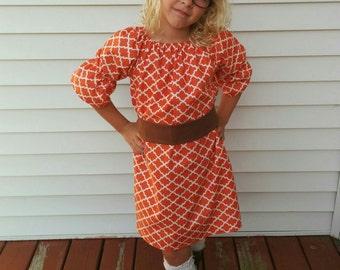 Girls Fall Pumpkin Orange Lattice Print Peasant Dress Mocha Brown Sash 0 3 6 12 18 24 2T 3T 4T 5/6 7/8 Limited Thanksgiving Halloween