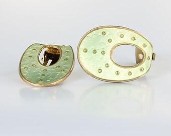 Norway Sterling enamel Earrings, Modernist Oystein Balle vintage Nordic jewelry, Sage Green Scandinavian