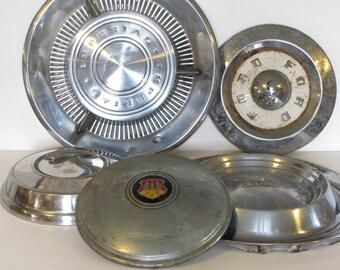 Vintage Hub Cap Collection - set of five