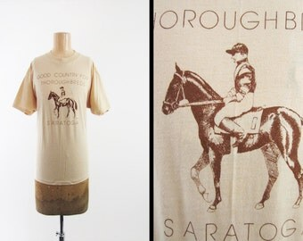 Vintage 70s Saratoga Track T-shirt Good Country For Thoroughbreds New York - Large / XL