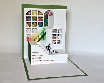 CLIMBING the STAIRS to SUCCESS 3D Pop Up Greeting Card Home Decor in White and Green w/Rainbow Colors Origamic Architecture. One of a Kind