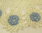 Vintage Blue and Off White Crocheted Doily, Vintage Linens, Grandmom's Doily, Round Doily, Crocheted Flowers, Swirled Crochet