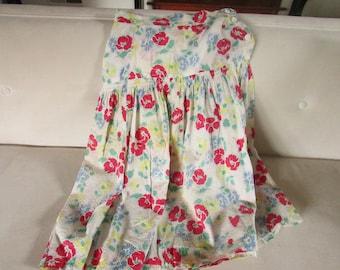 Vintage White Floral Crinkle Crepe Cotton Skirt,  Seersucker Skirt , Vintage Cotton Skirt, Floral Print Skirt, Vintage Summer Skirt