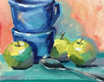 Blue Cups • Green Apples • Spoon Study #1 • Original Oil Painting • Oil Paintings • Daily Painters • Daily Painting • Artwork