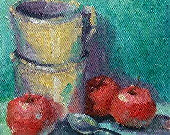 Red Apples • Daily Painting • Spoon Study #2 • Original Oil Painting • Oil Paintings • Daily Painters •  Artwork