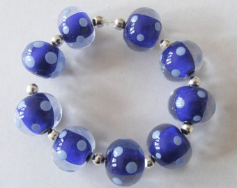 9 Handmade Lampwork Glass Beads -Blue/Polka Dots