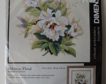 "Dimensions Crewel Embroilery kit ""Hibiscus Floral"" 12""x12""  (kit #53)"