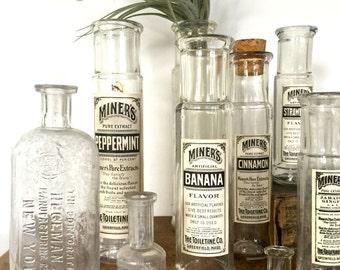 Vintage set 10 apothecary bottles