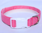Handmade Cotton Dog Collar - Hot Pink Gingham