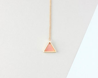 Mini Geometric Two Triangle Necklace (Light Pink - Gold) - Modern Handmade Jewellery