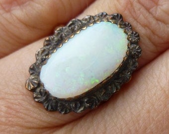 ROSE gold HUGE Victorian Opal ring hand made  One of a kind