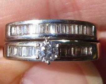 Estate natural Diamond ring wedding set stunning set 82.5 points   total weight 14KT  heavy