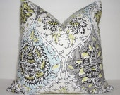 Grey Blue Yellow Floral Print Pillow Cover Decorative Throw Pillow Covers Choose Size