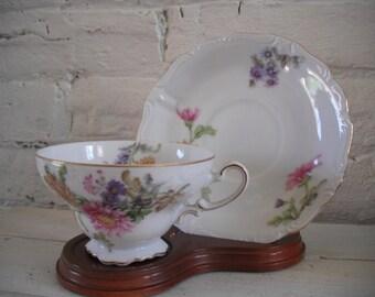 Vintage Pedestal Teacup and Saucer - Japan