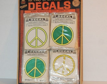 Impko Decals 1960s Peace Symbol Display 69 Decals NOS Flower Child Hippie Woodstock