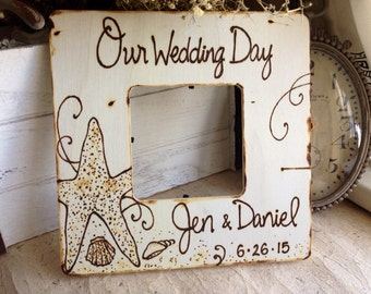 Our Wedding Day Custom Frame Destination Wedding Gift Personalized Bride & Groom Names Wedding Date Starfish and Shells Bridal Shower Gift
