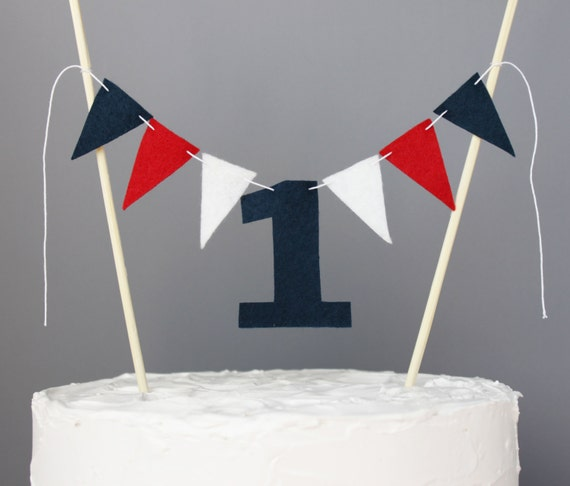 Creative Converting 1st Birthday Boy Cake Topper Blue: 1 Year Old Cake Topper Banner Red White And Navy Blue First
