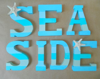 Beachy Striped Seaside Letters with Starfish