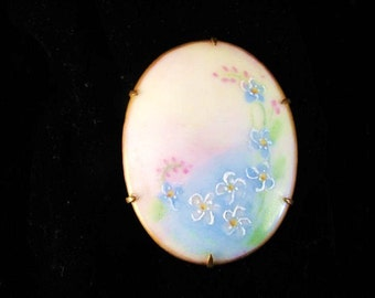 Large Victorian Porcelain Hand Painted Oval Brooch Forget Me Nots