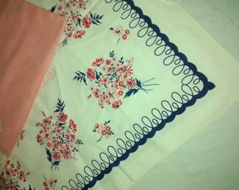 Vintage Pristine 1930's Tablecloth , Pink and Blue , Floral Bouquet , 48 inch Square