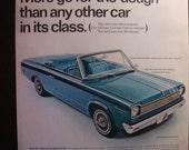 Vintage Magazine Original Promo Ad 1960's 1966 Rambler American 440 Blue - Great for Framing