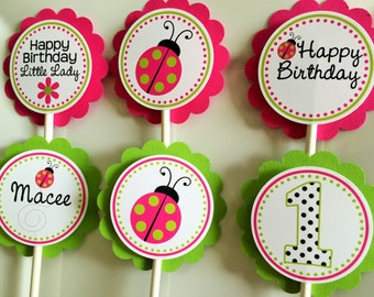 Ladybug Birthday Party Personalized Cupcake Toppers Pink and Green - Party Decorations - Party Supplies - Custom Cupcake Toppers - Set of 12