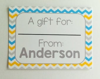 Personalized Blue and Yellow Chevron Gift Wrapping Tags, Happy Birthday Tags, Kids Gift Tags, Gift Wrapping Labels, Custom Tags, Set of 12