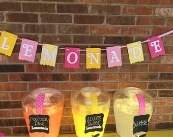 "Pink Lemonade ""Lemonade"" Birthday Party Pennant Banner"