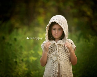 knitted long vest with hood,girls clothing