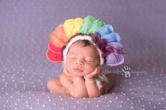 Newborn Rainbow Baby Flower Bonnet