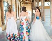 Custom Color listing for Printed Modern Simple Wedding Dress, Alternative Destination Wedding Dress, Floral Print wedding dress