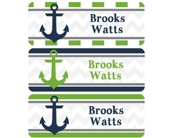Name Labels, School Name Labels, Daycare Labels, Waterproof Name Labels, Nautical, Anchors, Navy Blue, Lime Green, Green, Chevron, Stripes