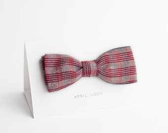 Patterned bow tie, bow tie with red and teal lines - reversible bow tie