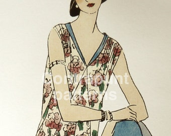 Flapper spring-summer floral 1926 sewing pattern. Gathered at the hip, shoulders and sides, and with a nice pointed skirt design.