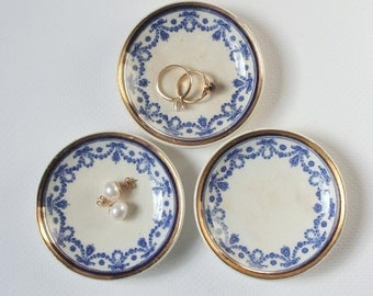 Antique English butter pats, floral swag blue transferware, English porcelain, antique porcelain