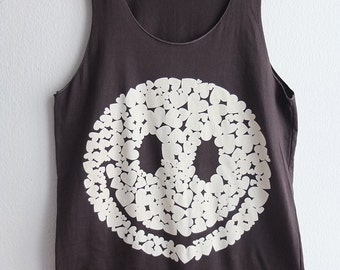 Happy Heart Face Rave Rock Pop Tank Top M