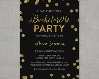 Bachelorette Party Invitation  //  Black Gold Glitter Confetti