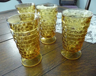 FOUR Vintage Colony Indiana Glass - Whitehall Amber Glass