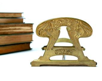 Expandable Book Rack - Antique Art Nouveau Brass Book Holder - Book Ends - Art Deco Ladies Women - Collapsible - 1920s